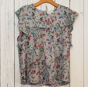 Monteau Floral Ruffle Blouse Top Large